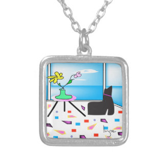 Funky Whimsical Colorful Miami, Graphic Silver Plated Necklace