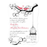 Funky Whimsical Love Birds Pink Wedding Invite