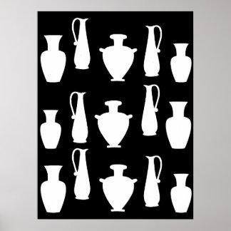 Funky White Ancient Greek Vases Jars Poster
