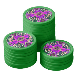 Funky Wild Card Pink Green Chips For Ladies Poker Chips Set