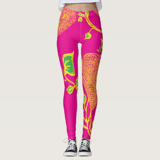 Funky & wild hearts leggings with vibrant colours.