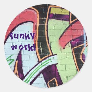 funky world round sticker