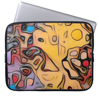 Funky yellow abstract laptop sleeve