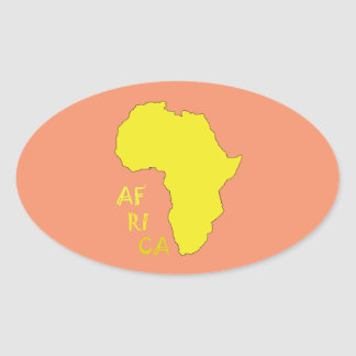 Funky Yellow Africa Map Oval Sticker