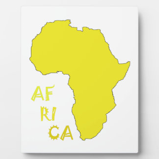 Funky Yellow Africa Map Plaque