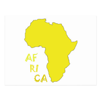 Funky Yellow Africa Map Postcard