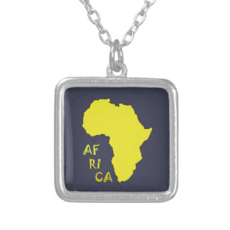Funky Yellow Africa Map Silver Plated Necklace