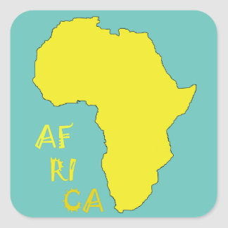 Funky Yellow Africa Map Square Sticker