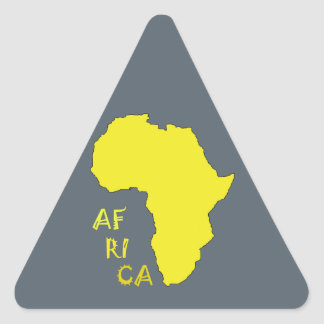 Funky Yellow Africa Map Triangle Sticker