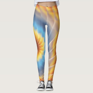 Funky Yellow & Blue Flower Leggings