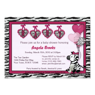 Funky Zebra Baby Shower Invitation Adorable PINK