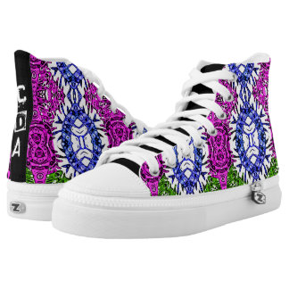 Funky Zebra Print Pattern Monogram Hightop Shoes