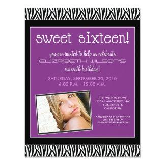 Funky Zebra Sweet 16 Birthday Party Invite (lilac)