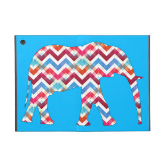 Funky Zigzag Chevron Elephant on Teal Blue Cover For iPad Mini