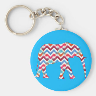 Funky Zigzag Chevron Elephant on Teal Blue Key Chains