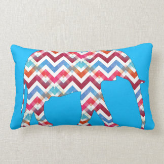 Funky Zigzag Chevron Elephant on Teal Blue Lumbar Cushion