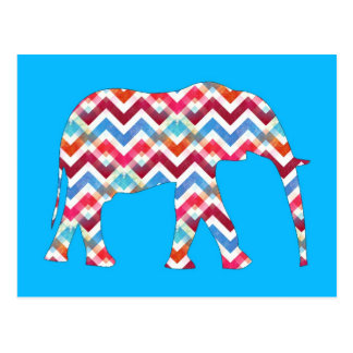 Funky Zigzag Chevron Elephant on Teal Blue Postcard