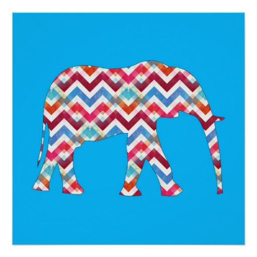Funky Zigzag Chevron Elephant on Teal Blue Posters