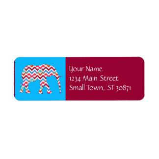 Funky Zigzag Chevron Elephant on Teal Blue Return Address Label