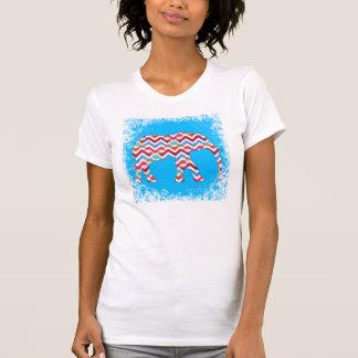 Funky Zigzag Chevron Elephant on Teal Blue T Shirt