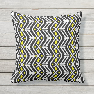 Funky Zigzag Chevron Pattern in Yellow and White Outdoor Cushion