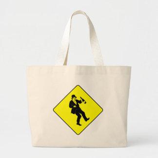 Funn Drunk Man Sign Large Tote Bag
