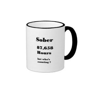 funny 10 year sobriety mug. ringer mug
