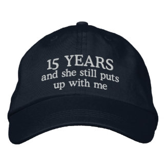 Funny 15th Anniversary Mens Hat Gift Cap Embroidered Hats