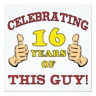 Funny 16th Birthday For Boys 13 Cm X 13 Cm Square Invitation Card