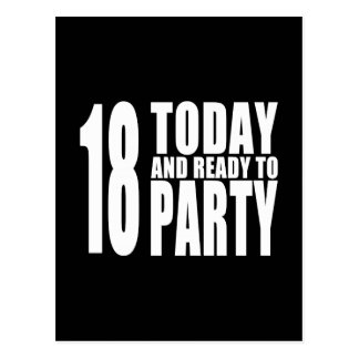 Funny 18th Birthdays : 18 Today and Ready to Party Postcard