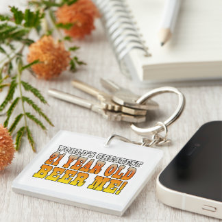 Funny 21st Birthdays : Worlds Greatest 21 Year Old Single-Sided Square Acrylic Key Ring