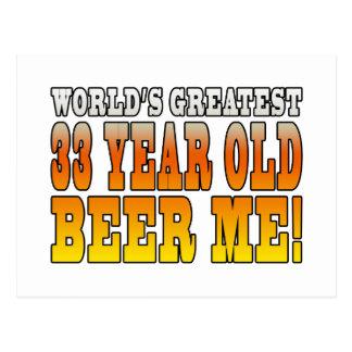 Funny 33rd Birthdays : Worlds Greatest 33 Year Old Postcard