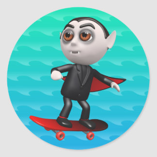 Funny 3d Dracula Skateboarding Round Sticker