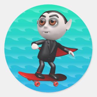 Funny 3d Dracula Skateboarding Sticker