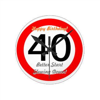 Funny 40th Birthday Joke 40 Road Sign Speed Limit Clocks