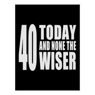 Funny 40th Birthdays 40 Today and None the Wiser Print