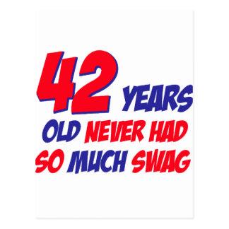 funny 42 years birthday postcard