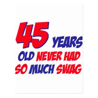 funny 45 years birthday postcard