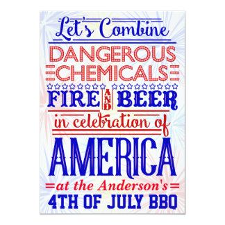 Funny 4th of July BBQ Party | Humorous Barbecue 13 Cm X 18 Cm Invitation Card