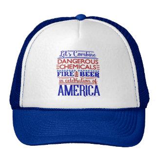 Funny 4th of July Beer Fireworks America Humor Cap