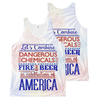 Funny 4th of July Beer Fireworks Humor All-Over Print Tank Top