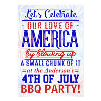 Funny 4th of July Fireworks BBQ   Barbecue Party Card