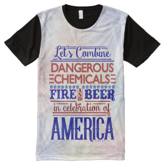 Funny 4th of July Independence   Beer Fireworks All-Over Print T-Shirt