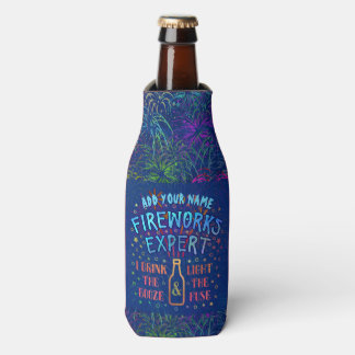 Funny 4th of July Independence Fireworks Expert V2 Bottle Cooler