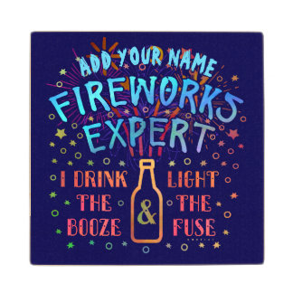 Funny 4th of July Independence Fireworks Expert V2 Wood Coaster