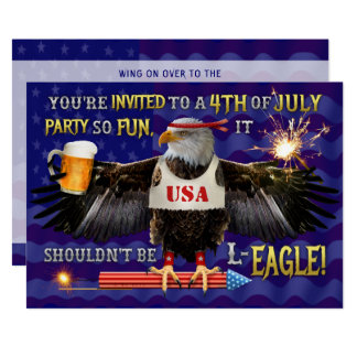Funny 4th of July Party | Eagle Beer Fireworks Card