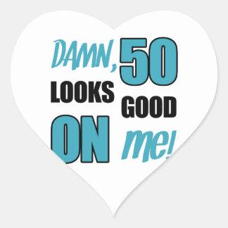 Funny 50th Birthday Gag Gift Heart Sticker