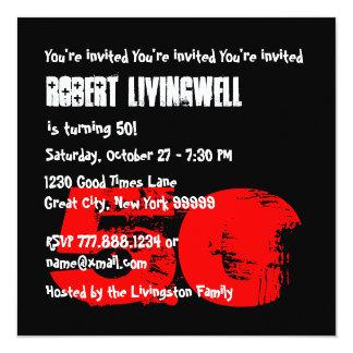 Funny 50th Skull Birthday Template A03 13 Cm X 13 Cm Square Invitation Card