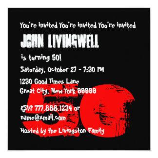 Funny 50th Skull Birthday Template A04 13 Cm X 13 Cm Square Invitation Card