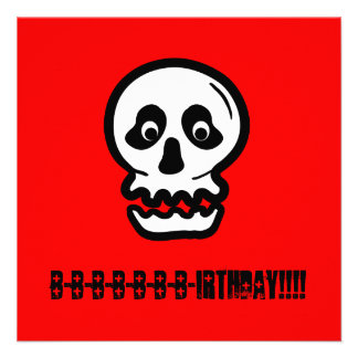 Funny 50th Skull Birthday Template A04 Custom Announcements